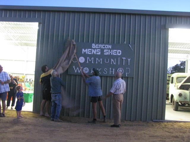 unveiling of the Beacon Mens Shed sign during the opening ceremony