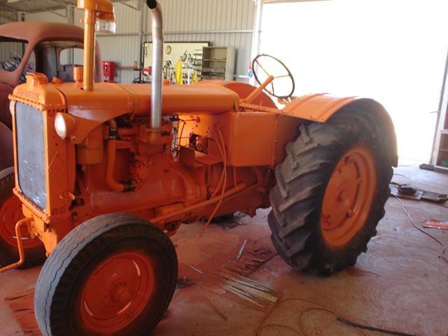 left side front view of the restored Allis Chalmers tractor at Beacon Mens Shed