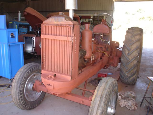 front view of Allis Chalmers tractor during restoration at Beacon Mens Shed