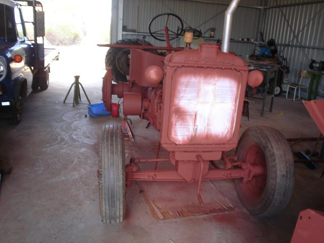front view of Allis Chalmers tractor during restoration
