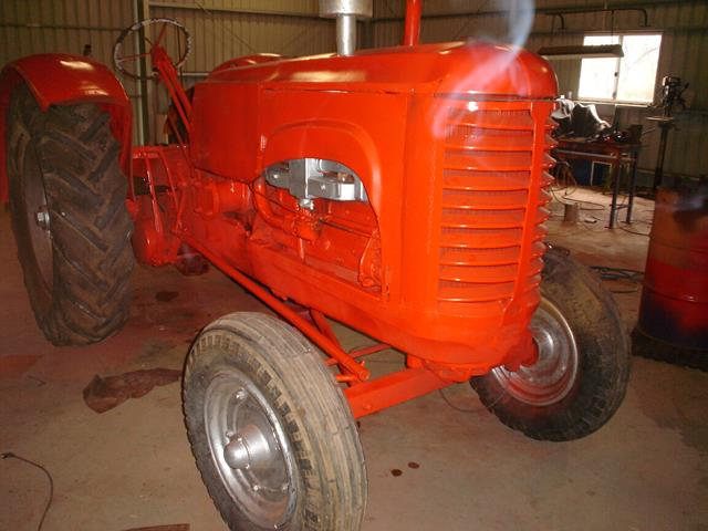 front view of the immaculately restored Massey Harris tractor at Beacon Mens Shed in Western Australia