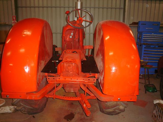 Massey Harris tractor restoration before lettering applied to paint