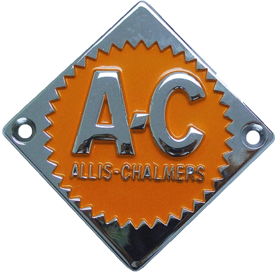 Allis-Chalmers cast steel badge in pristine condition with chrome and orange backround