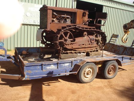 Rusty old caterpillar Crawler Arrives at Beacon Mens Shed