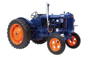 Fordson tractor perfectly restored to navy blue with orange wheel hubs