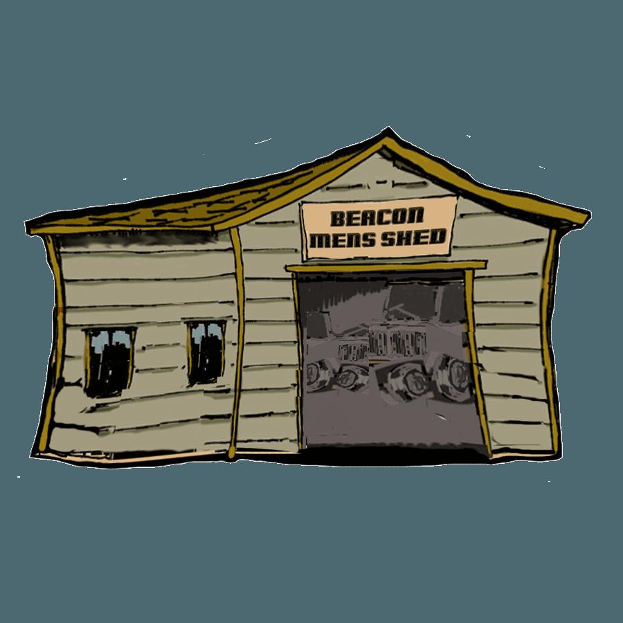 Beacon Mens Shed cartoon logo