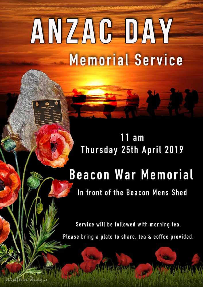 illustration commemorating ANZAC day memorial service in Beacon, Western Australia